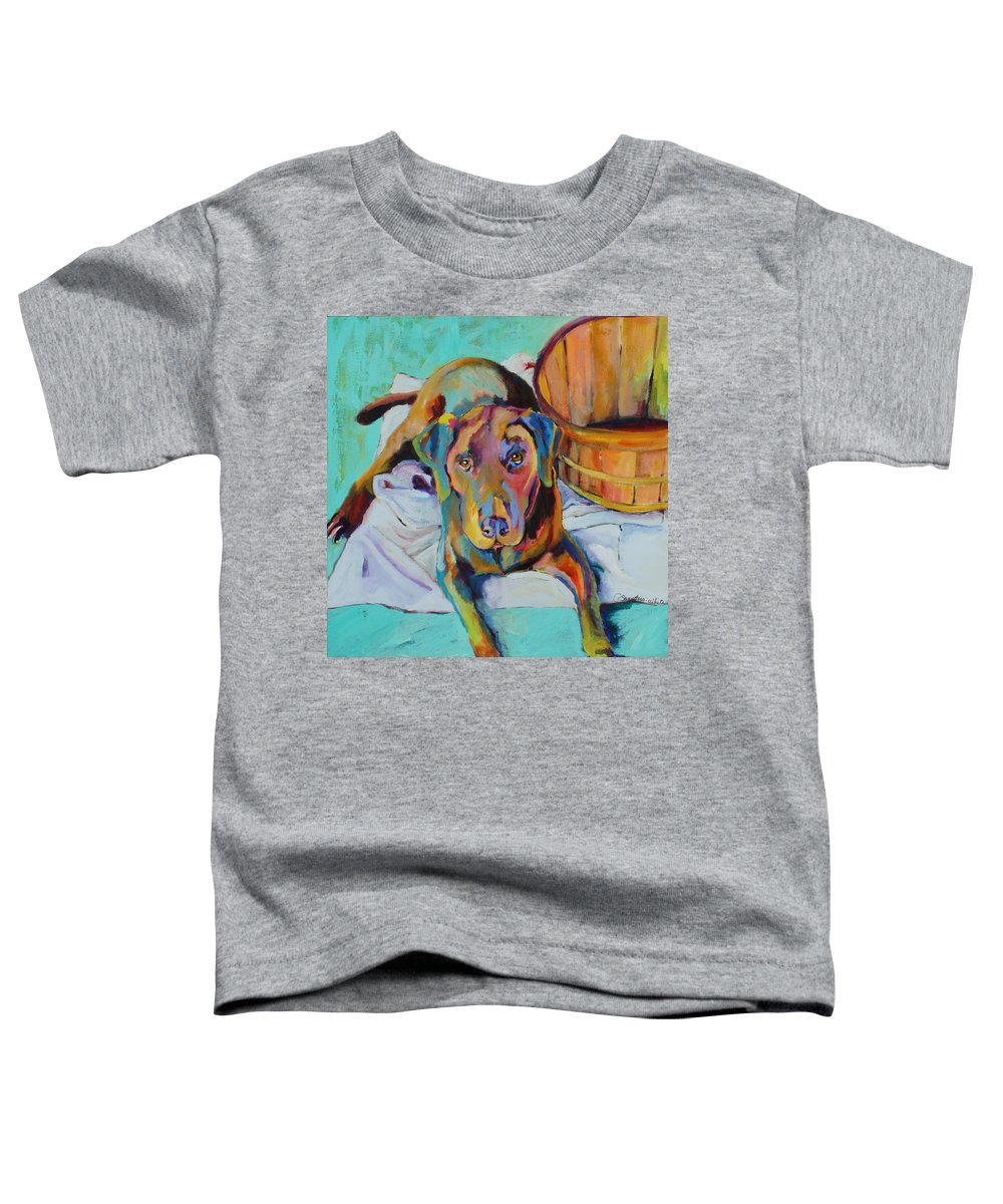 Chocolate Lab Toddler T-Shirt featuring the painting Basket Retriever by Pat Saunders-White
