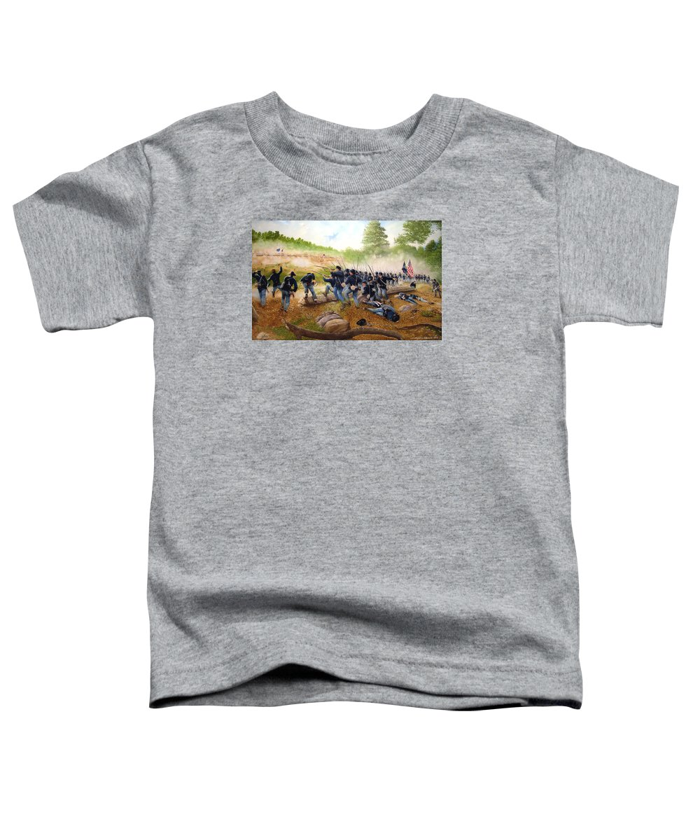 Civil War Toddler T-Shirt featuring the painting Battle Of Utoy Creek by Marc Stewart