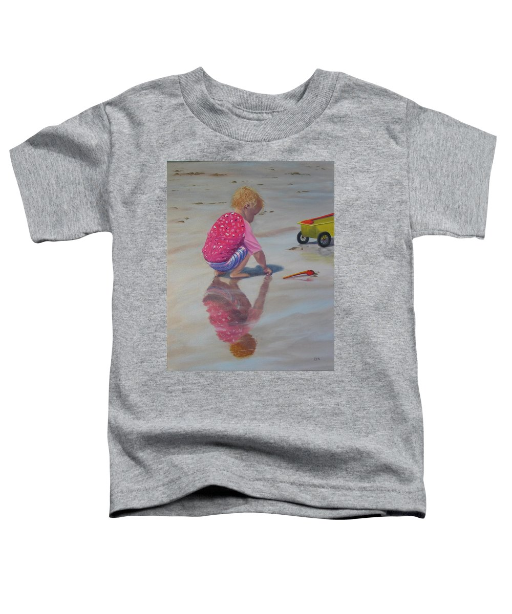 Baby Toddler T-Shirt featuring the painting Beach Baby by Lea Novak