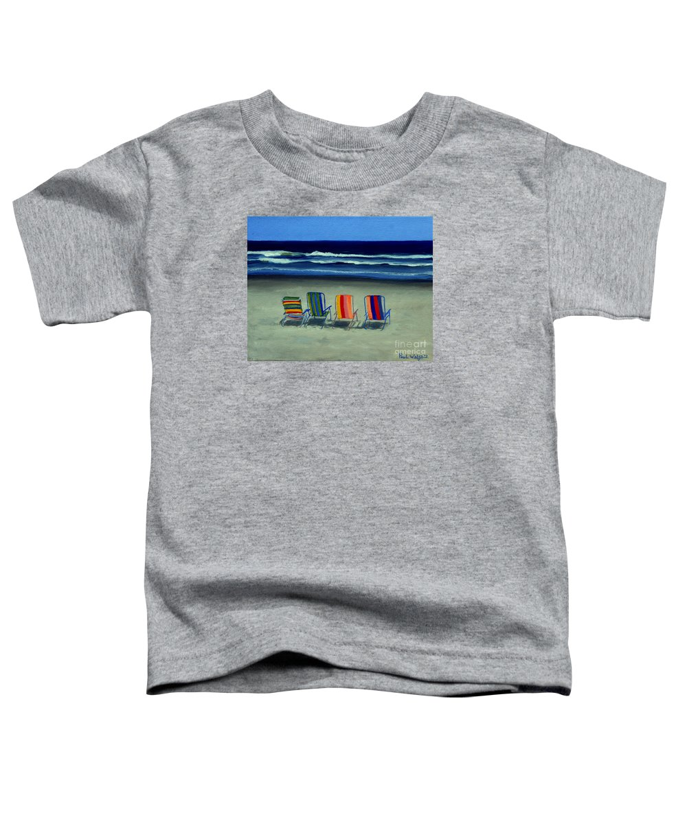 Beach Toddler T-Shirt featuring the painting Beach Chairs by Paul Walsh