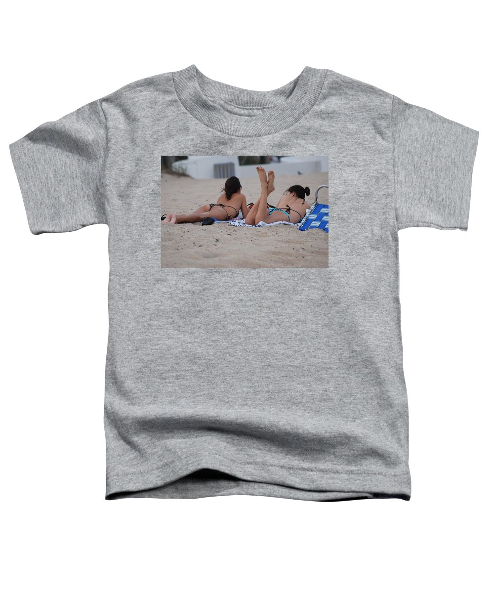 Girls Toddler T-Shirt featuring the photograph Beach Combers by Rob Hans