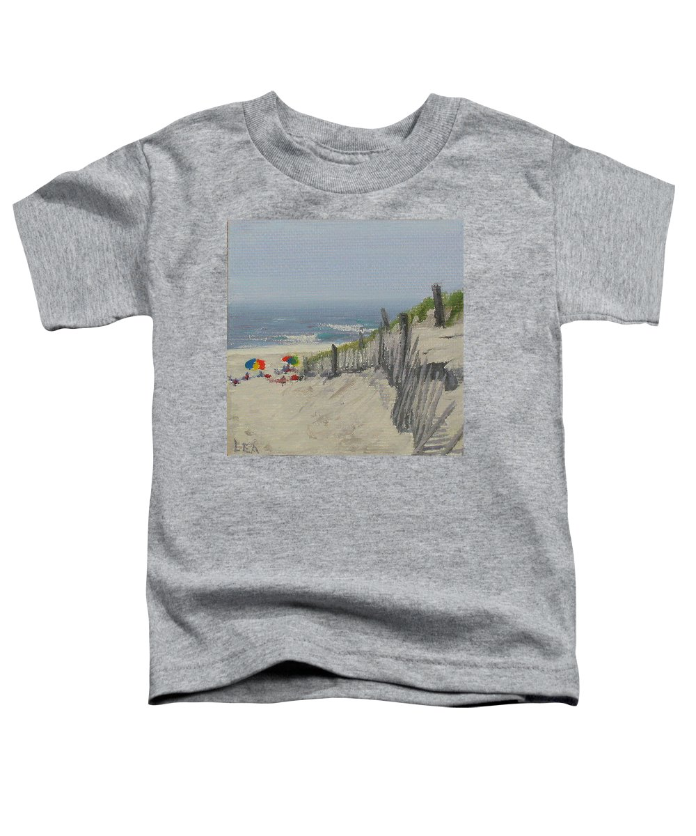 Beach Toddler T-Shirt featuring the painting Beach Scene Miniature by Lea Novak
