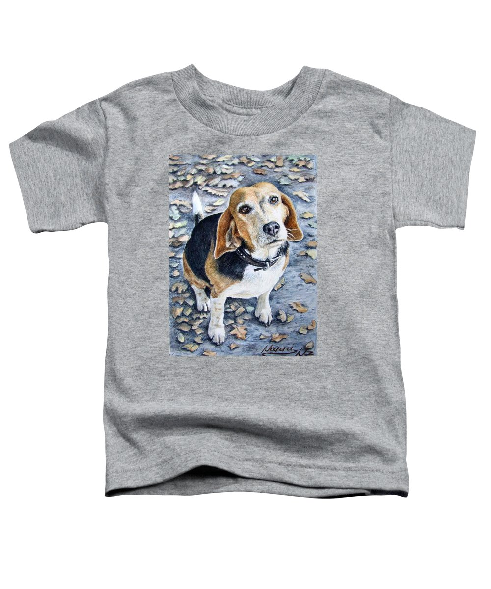 Dog Toddler T-Shirt featuring the painting Beagle Nanni by Nicole Zeug