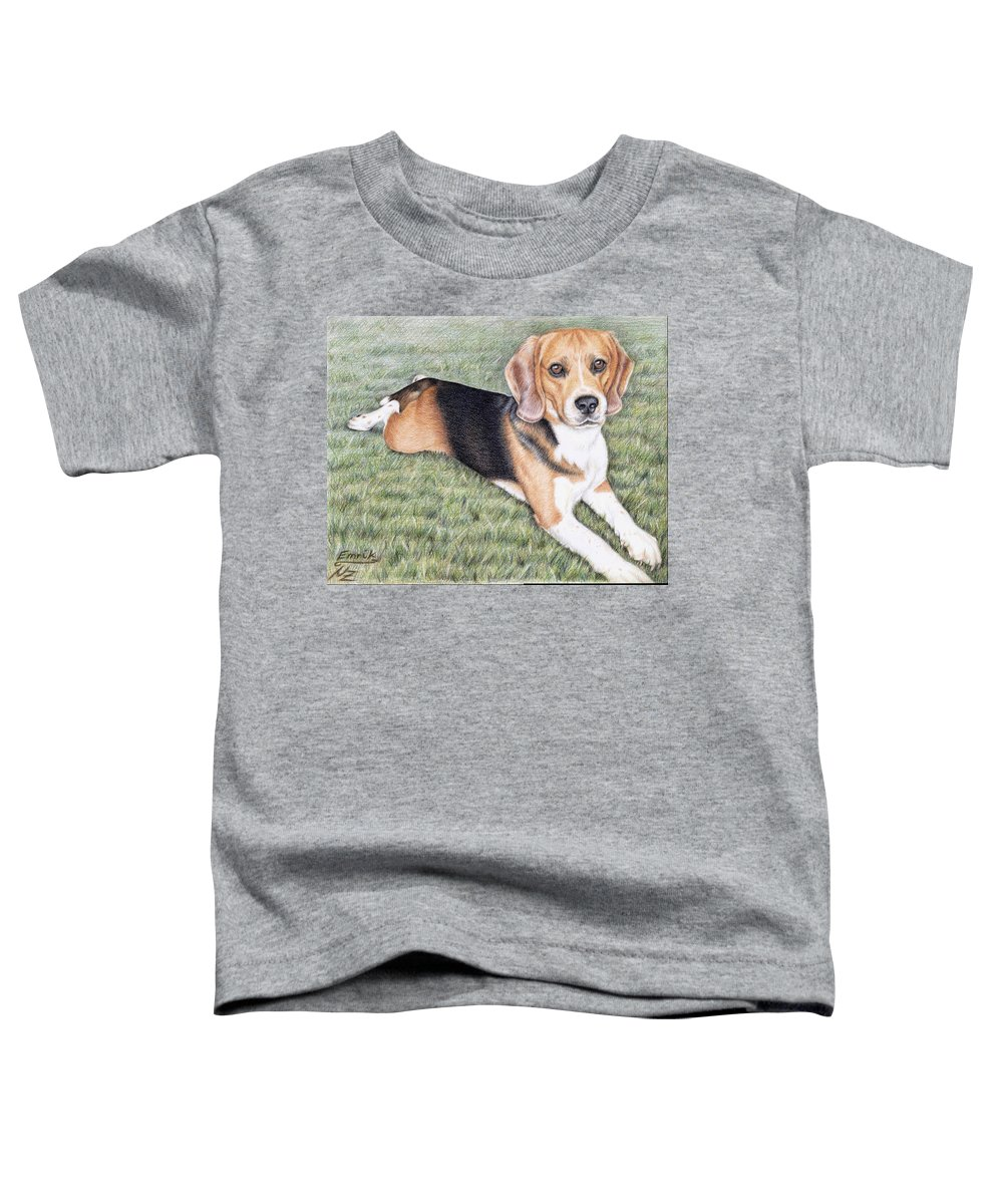 Dog Toddler T-Shirt featuring the drawing Beagle by Nicole Zeug