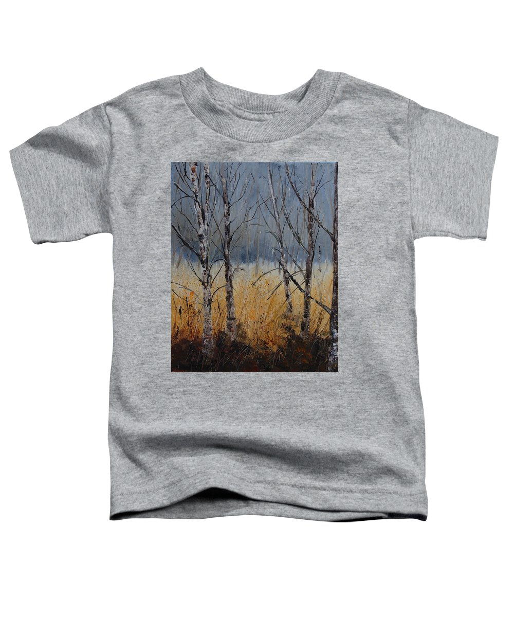 Winter Toddler T-Shirt featuring the painting Birch Trees by Pol Ledent