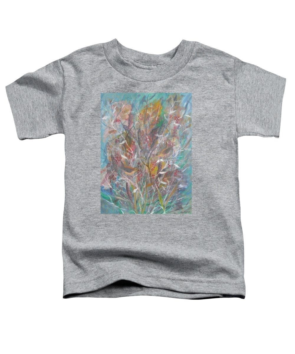 Birds Toddler T-Shirt featuring the painting Birds In A Bush by Ben Kiger
