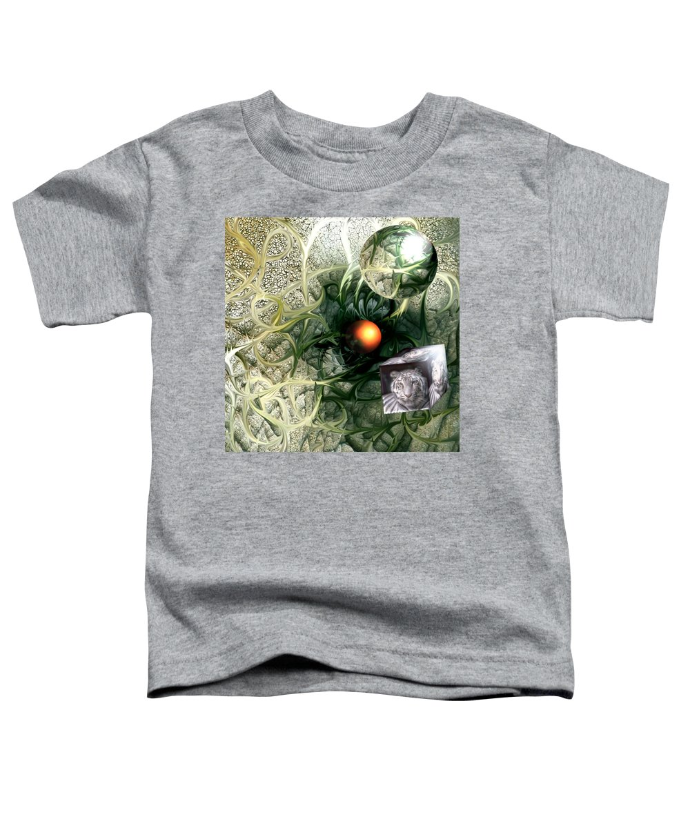 Abstract Nature Red Birth Tiger Spheres Wire Toddler T-Shirt featuring the digital art Birth by Veronica Jackson