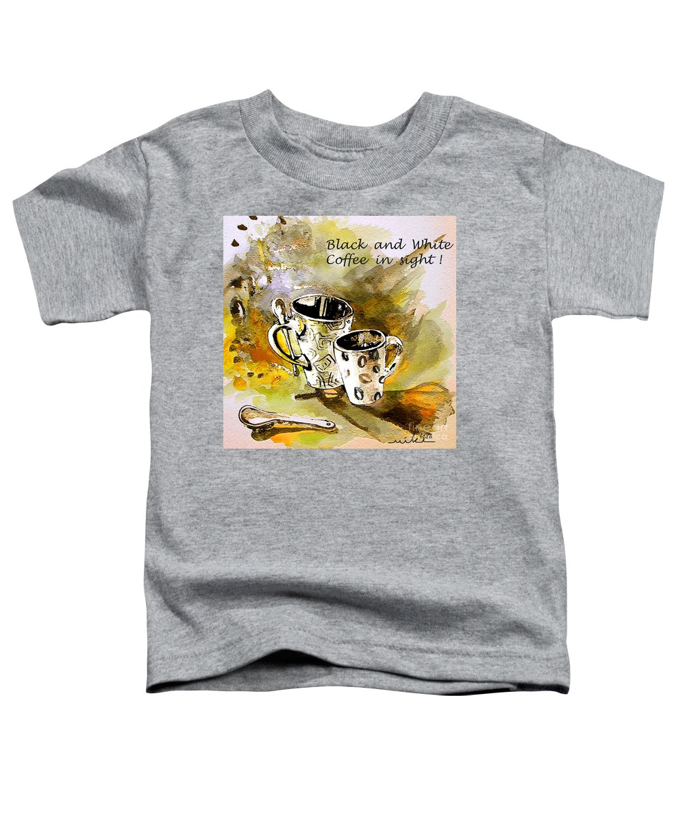 Cafe Crem Toddler T-Shirt featuring the painting Black And White by Miki De Goodaboom