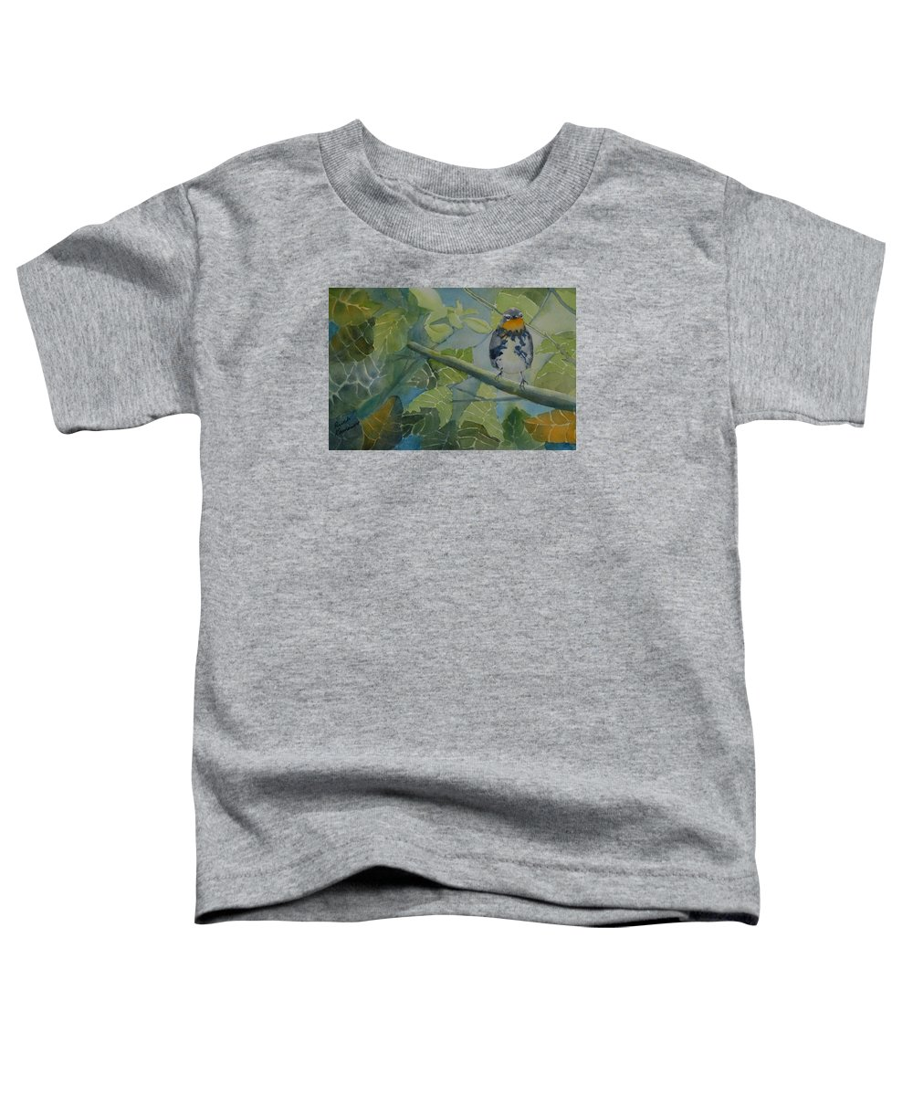 Bird Toddler T-Shirt featuring the painting Blackburnian Warbler I by Ruth Kamenev