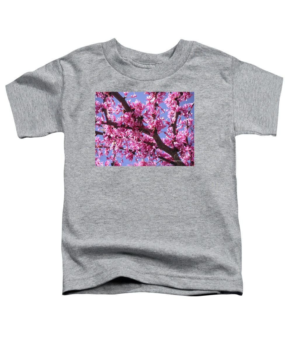 Nature Toddler T-Shirt featuring the photograph Blooming Red Buds by Lucyna A M Green