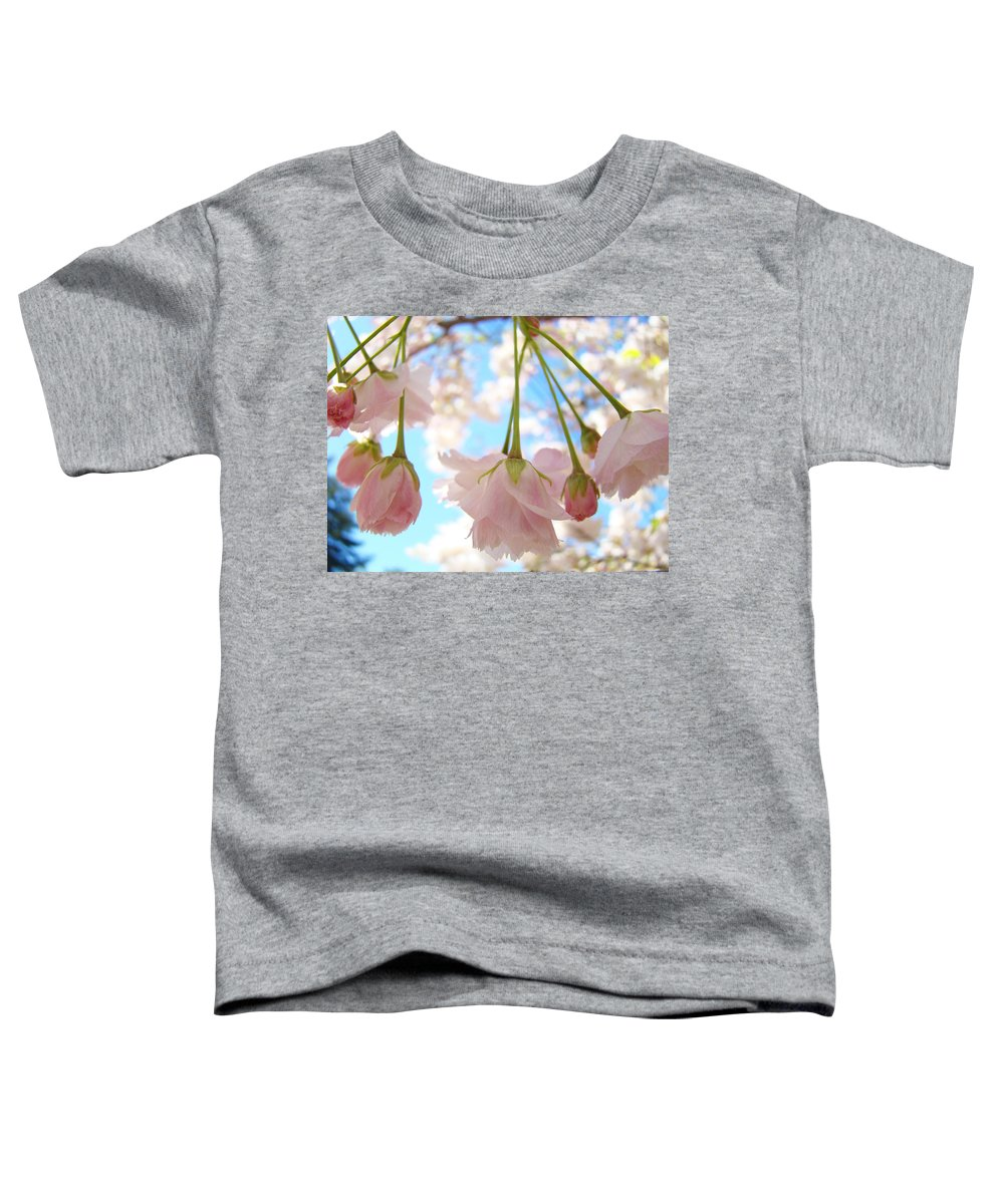 �blossoms Artwork� Toddler T-Shirt featuring the photograph Blossoms Art Prints 52 Pink Tree Blossoms Nature Art Blue Sky by Baslee Troutman