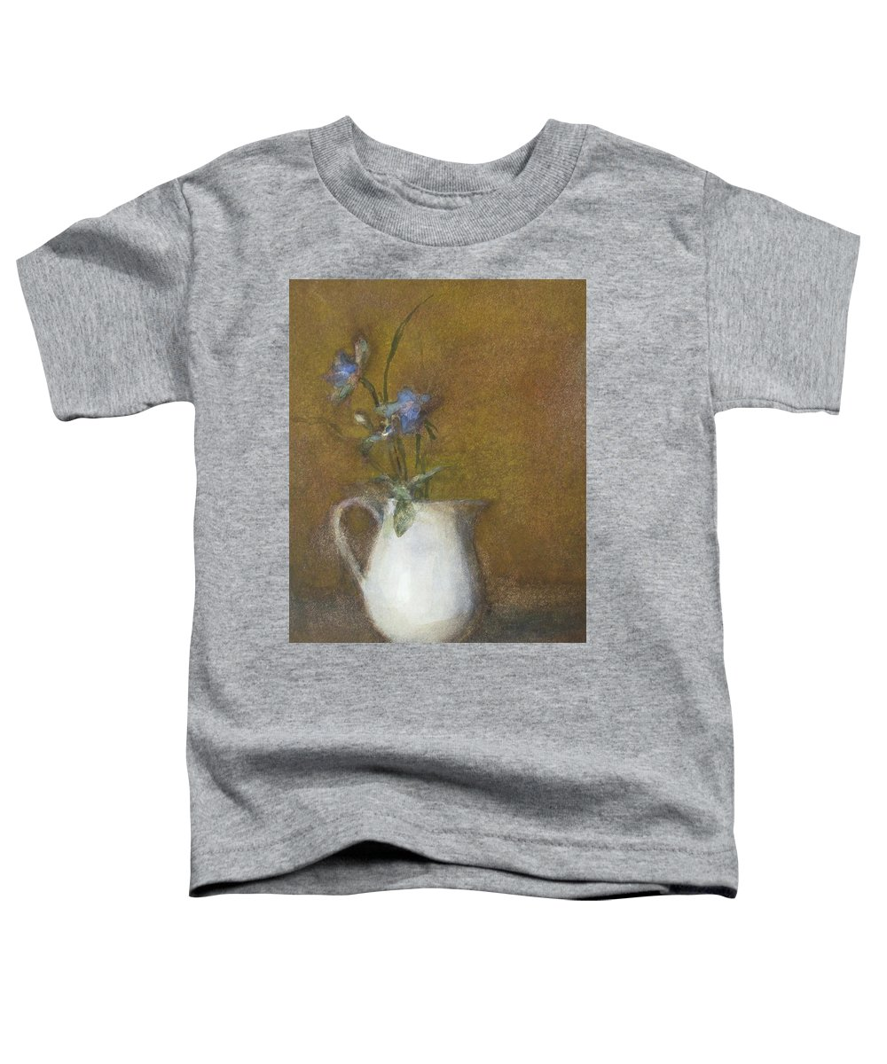 Floral Still Life Toddler T-Shirt featuring the painting Blue Flower by Joan DaGradi