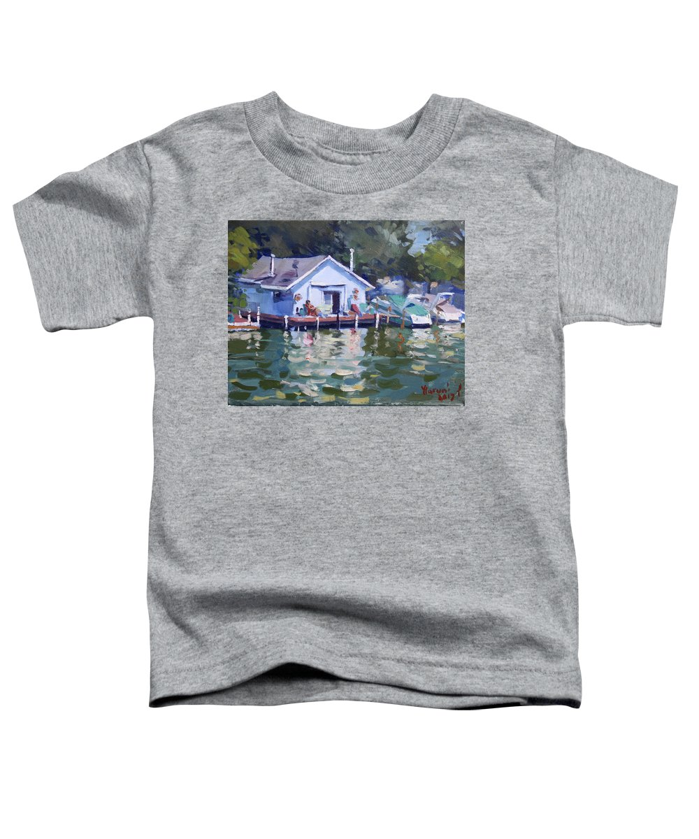 Boat House Toddler T-Shirt featuring the painting Boat House At Tonawanda Canal by Ylli Haruni