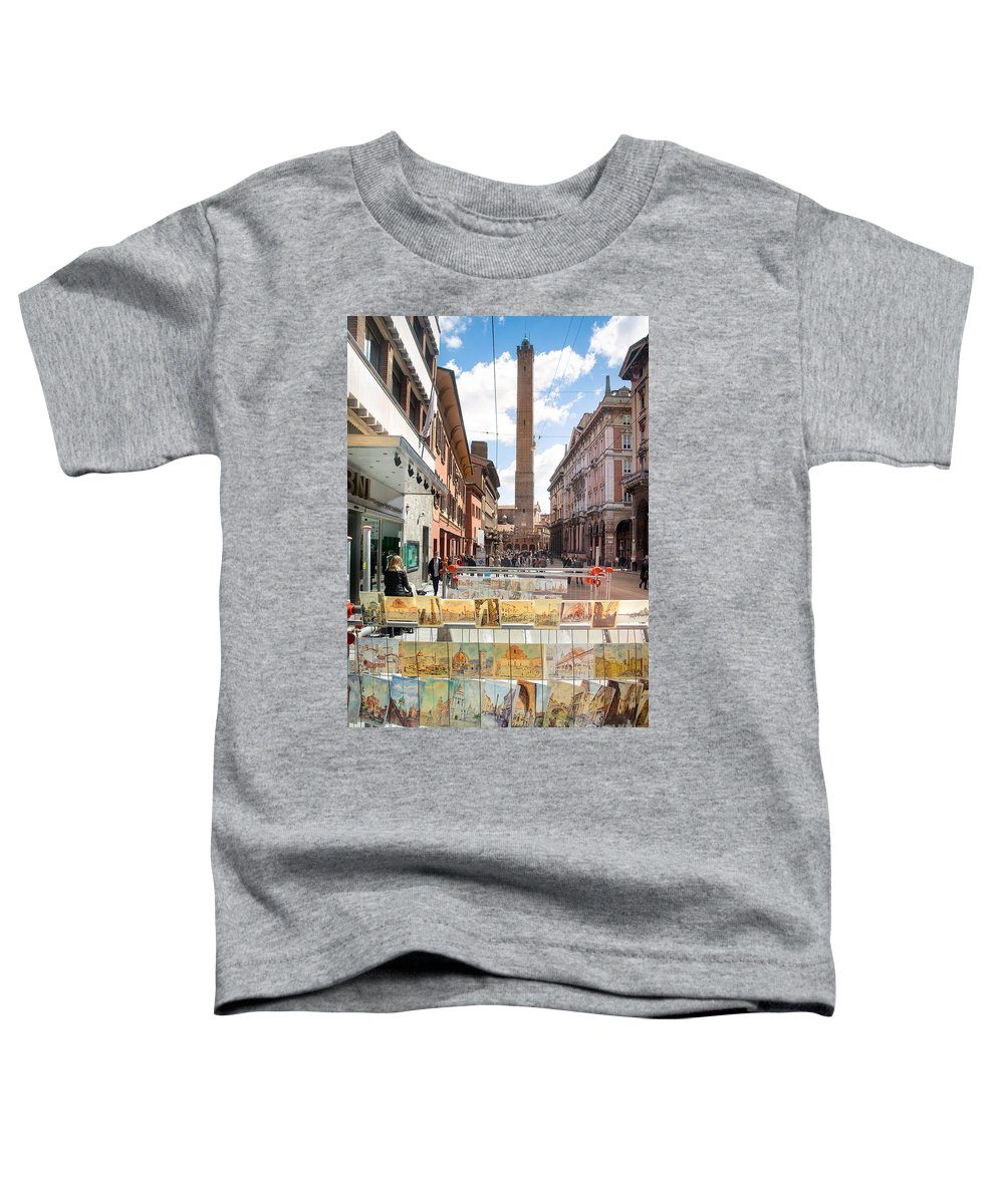 Rizzoli Toddler T-Shirt featuring the photograph Bologna Artworks Of The City Hanging In by Luca Lorenzelli