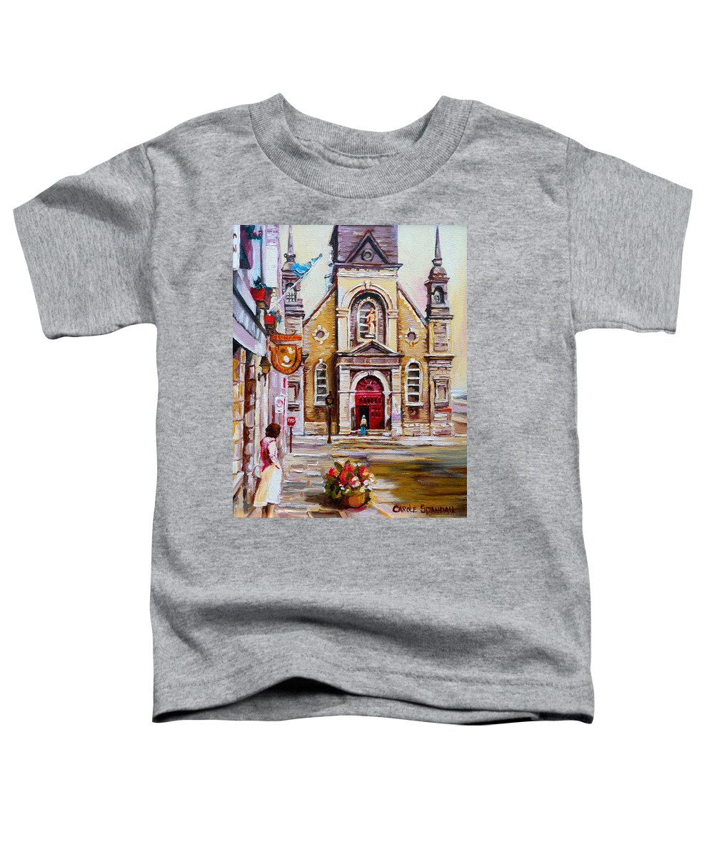 Montreal Churches Toddler T-Shirt featuring the painting Bonsecours Church by Carole Spandau