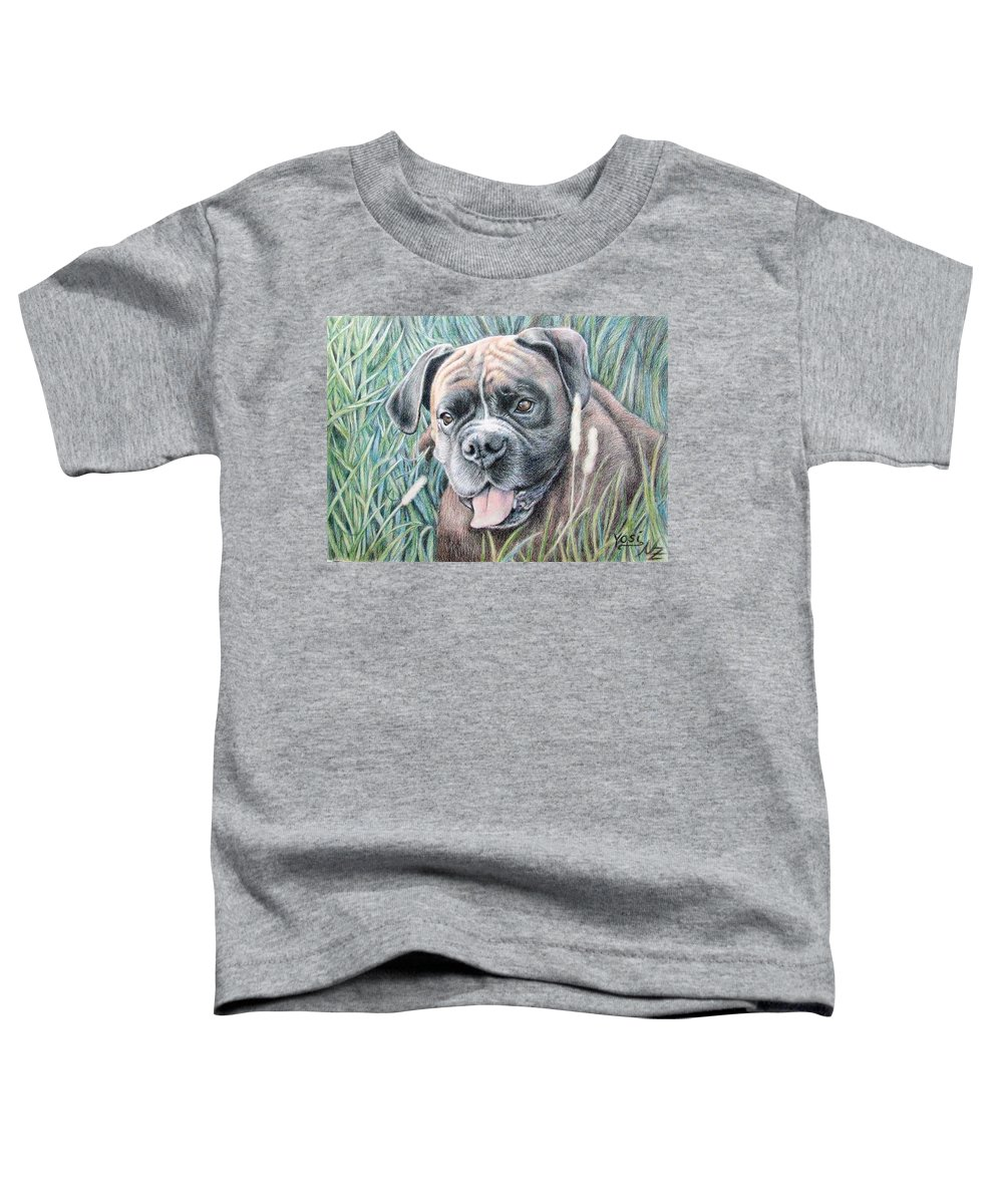 Dog Toddler T-Shirt featuring the drawing Boxer Yosi by Nicole Zeug