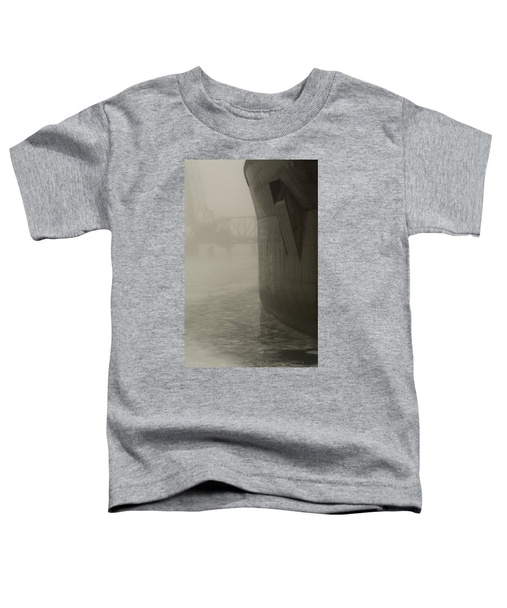 Water Toddler T-Shirt featuring the photograph Bridge And Barge by Tim Nyberg