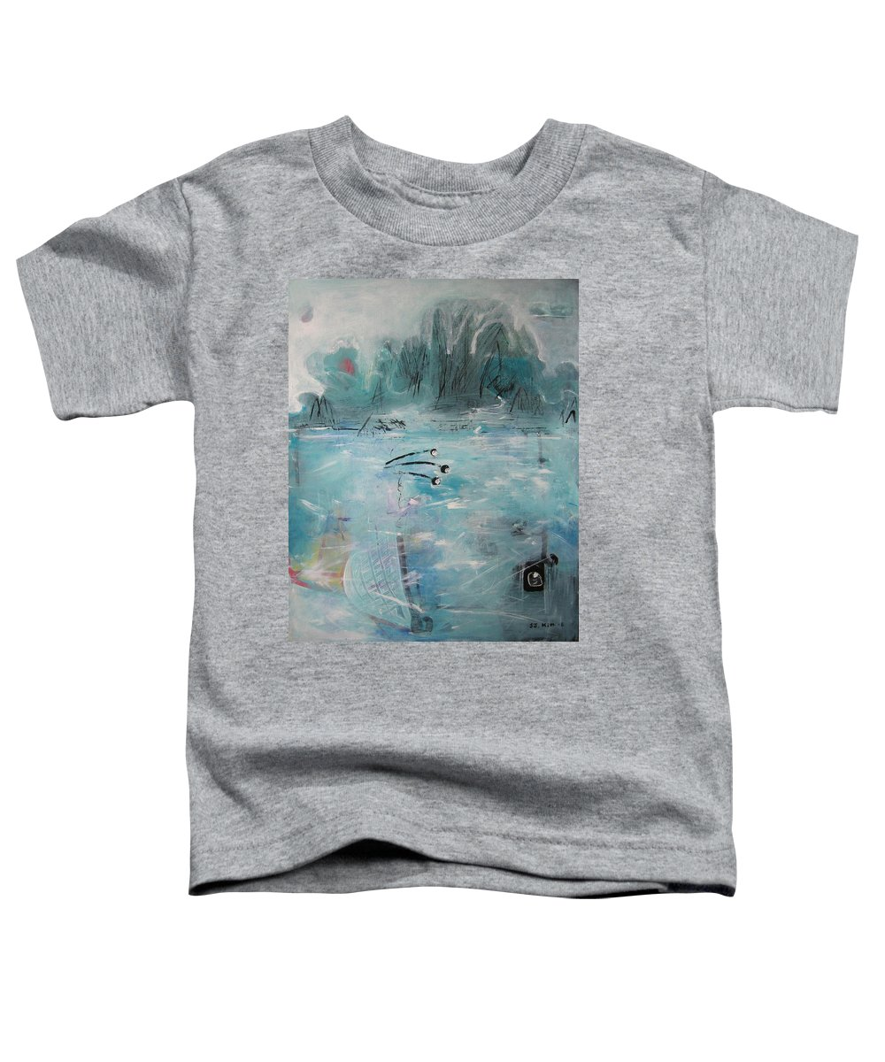 Abstract Paintings Toddler T-Shirt featuring the painting Brierly Beach by Seon-Jeong Kim