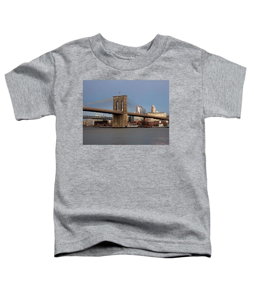 Brooklyn Bridge Toddler T-Shirt featuring the photograph Brooklyn Bridge by Anita Burgermeister