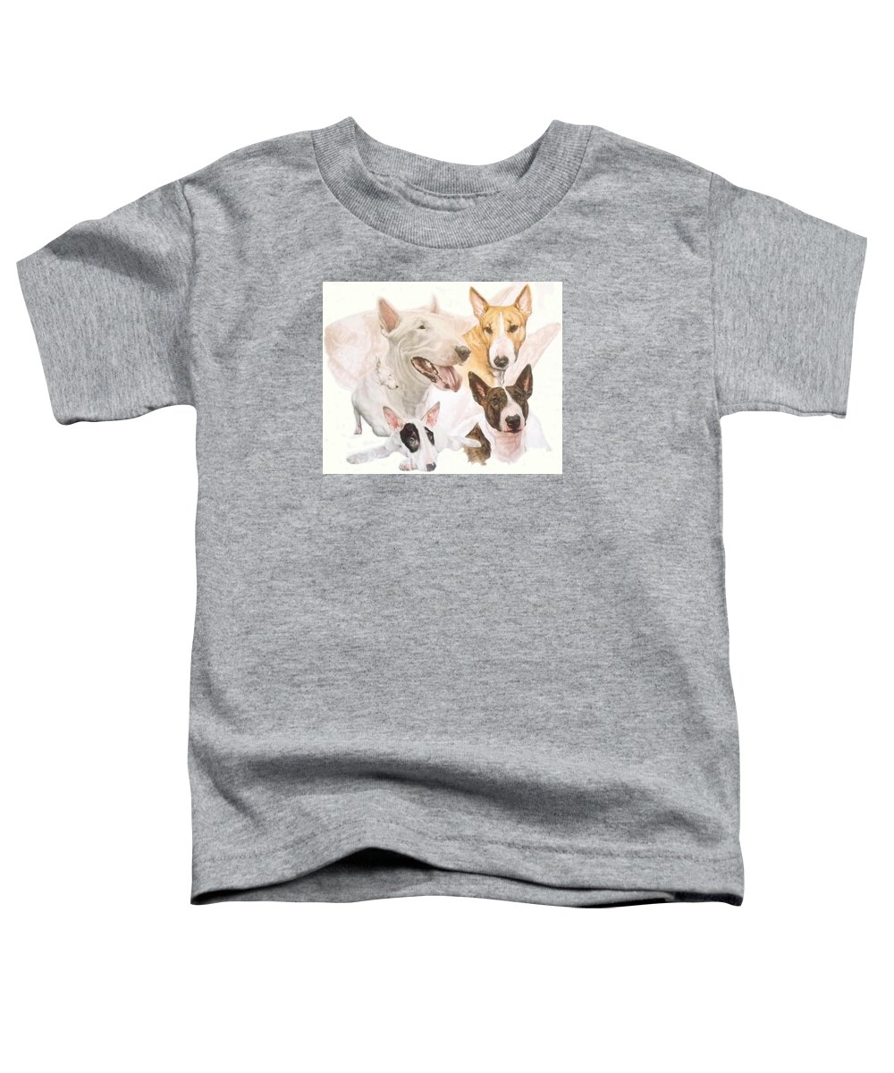 Purebred Toddler T-Shirt featuring the mixed media Bull Terrier W/ghost by Barbara Keith