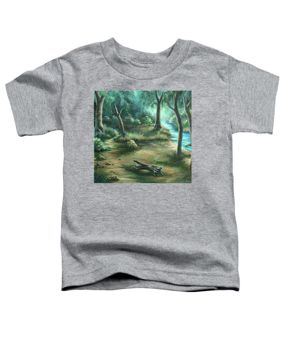 Landscape Toddler T-Shirt featuring the painting Camping At Figueroa Mountains by Jennifer McDuffie