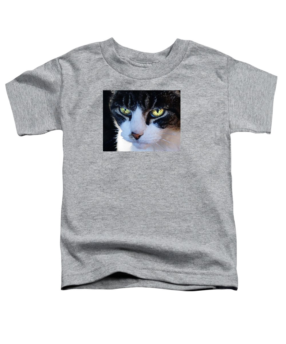 Cat Toddler T-Shirt featuring the digital art Cat Eyes by Jana Russon