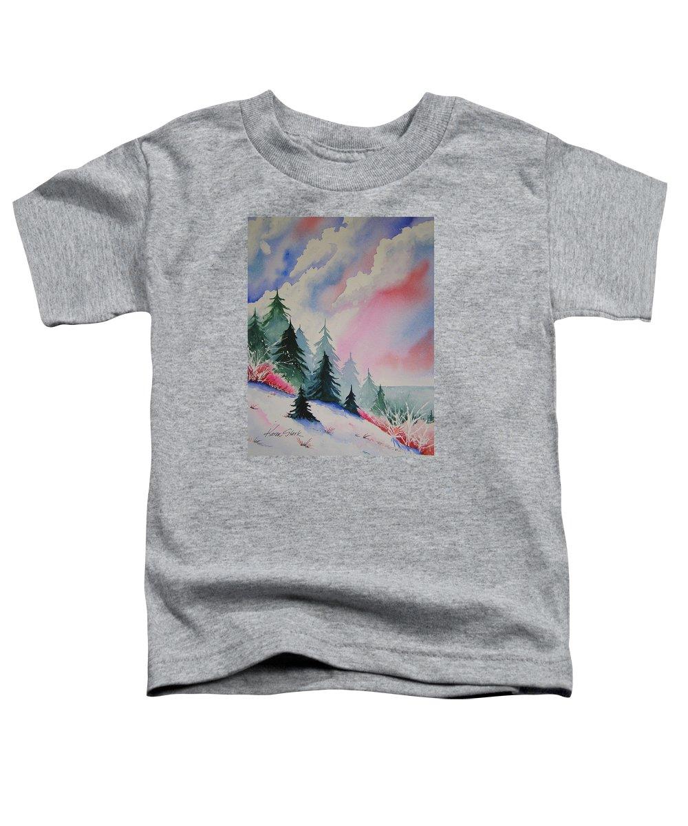 Snow Toddler T-Shirt featuring the painting Cedar Fork Snow by Karen Stark