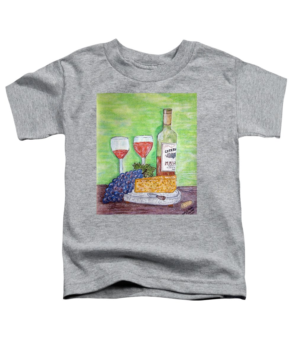 Cheese Toddler T-Shirt featuring the painting Cheese Wine And Grapes by Kathy Marrs Chandler
