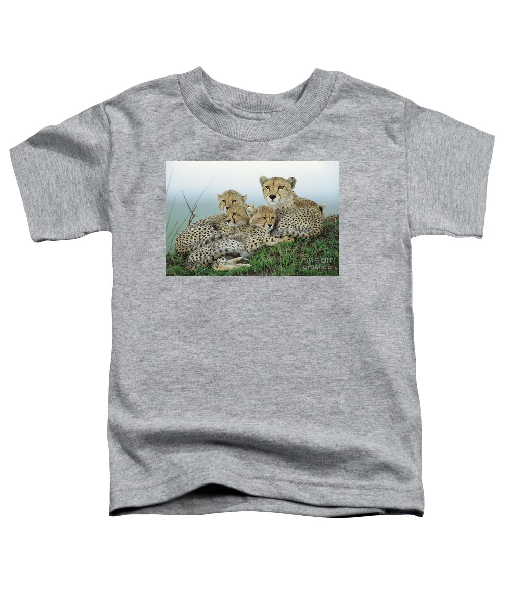 00345011 Toddler T-Shirt featuring the photograph Cheetah And Her Cubs by Yva Momatiuk John Eastcott