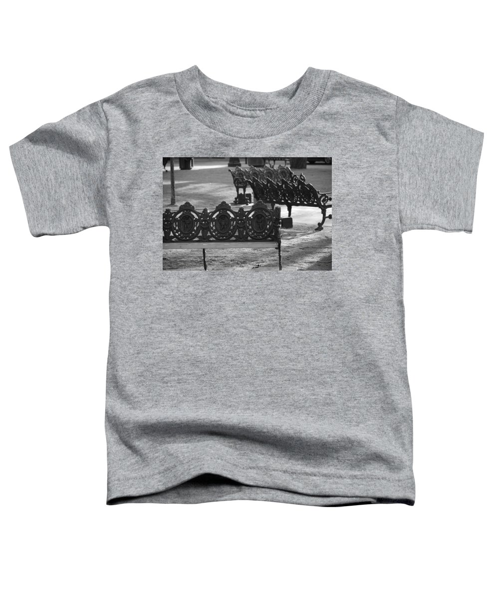 Black And White Toddler T-Shirt featuring the photograph Cherb Benches by Rob Hans