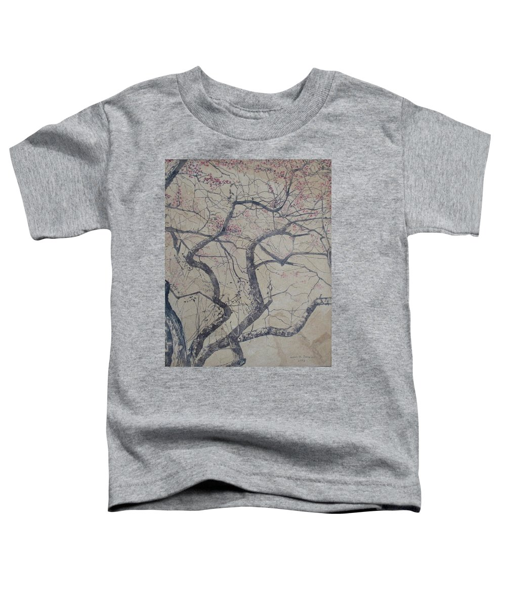 Crab Apple Toddler T-Shirt featuring the painting Prairie Fire by Leah Tomaino