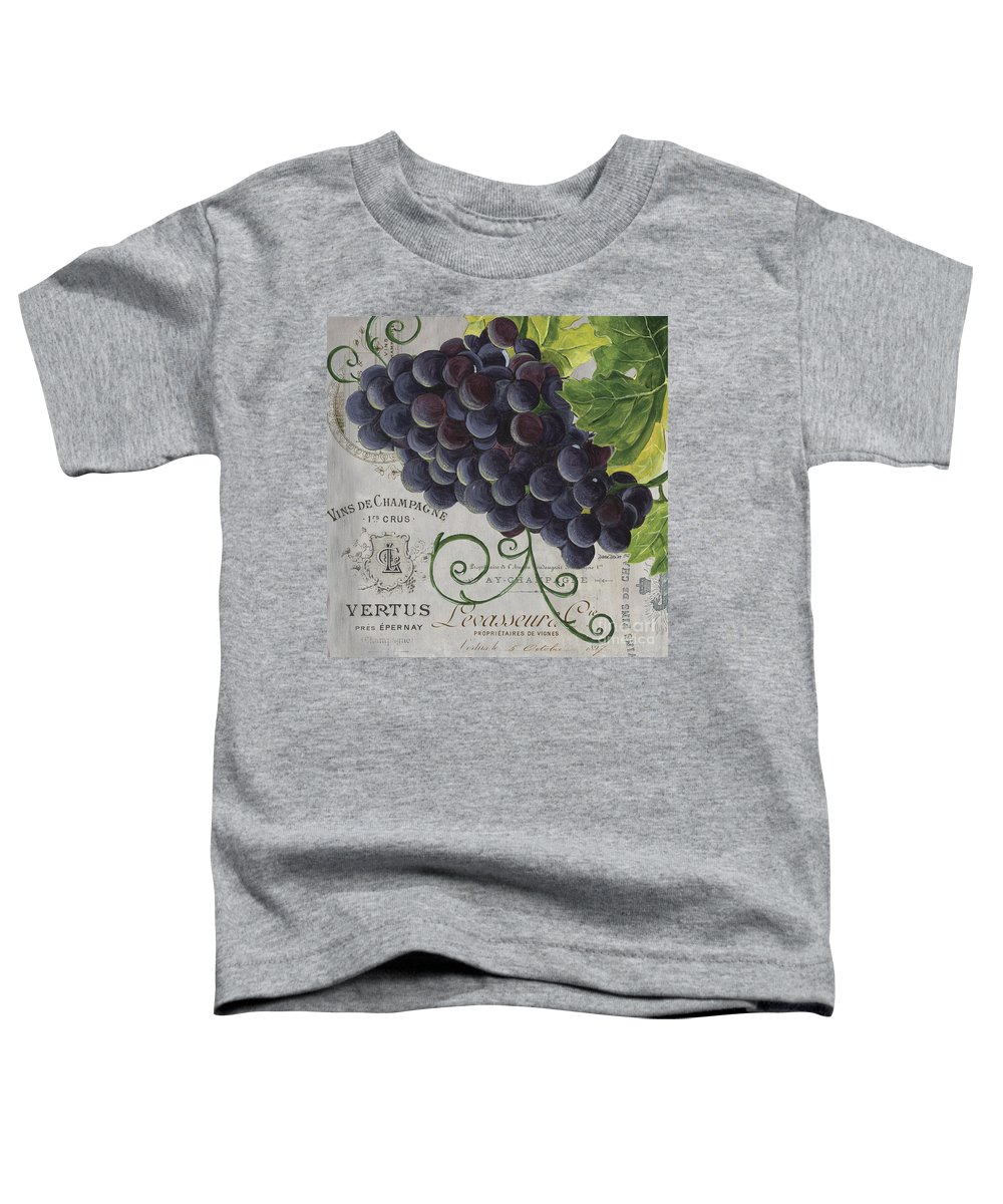 Grapes Toddler T-Shirt featuring the painting Vins de Champagne 2 by Debbie DeWitt