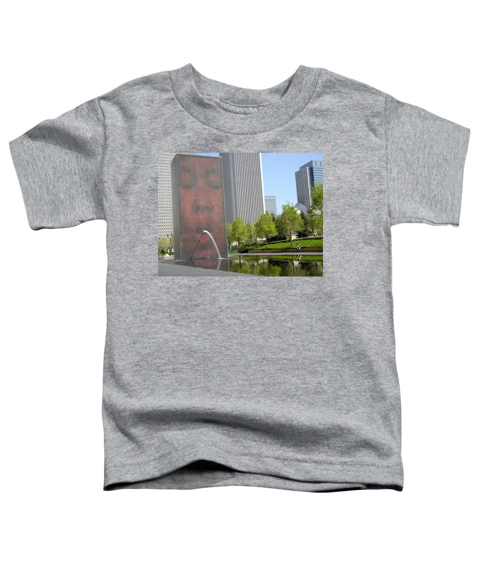 Chicago Toddler T-Shirt featuring the photograph Chicago Crown Fountain 8 by Jean Macaluso