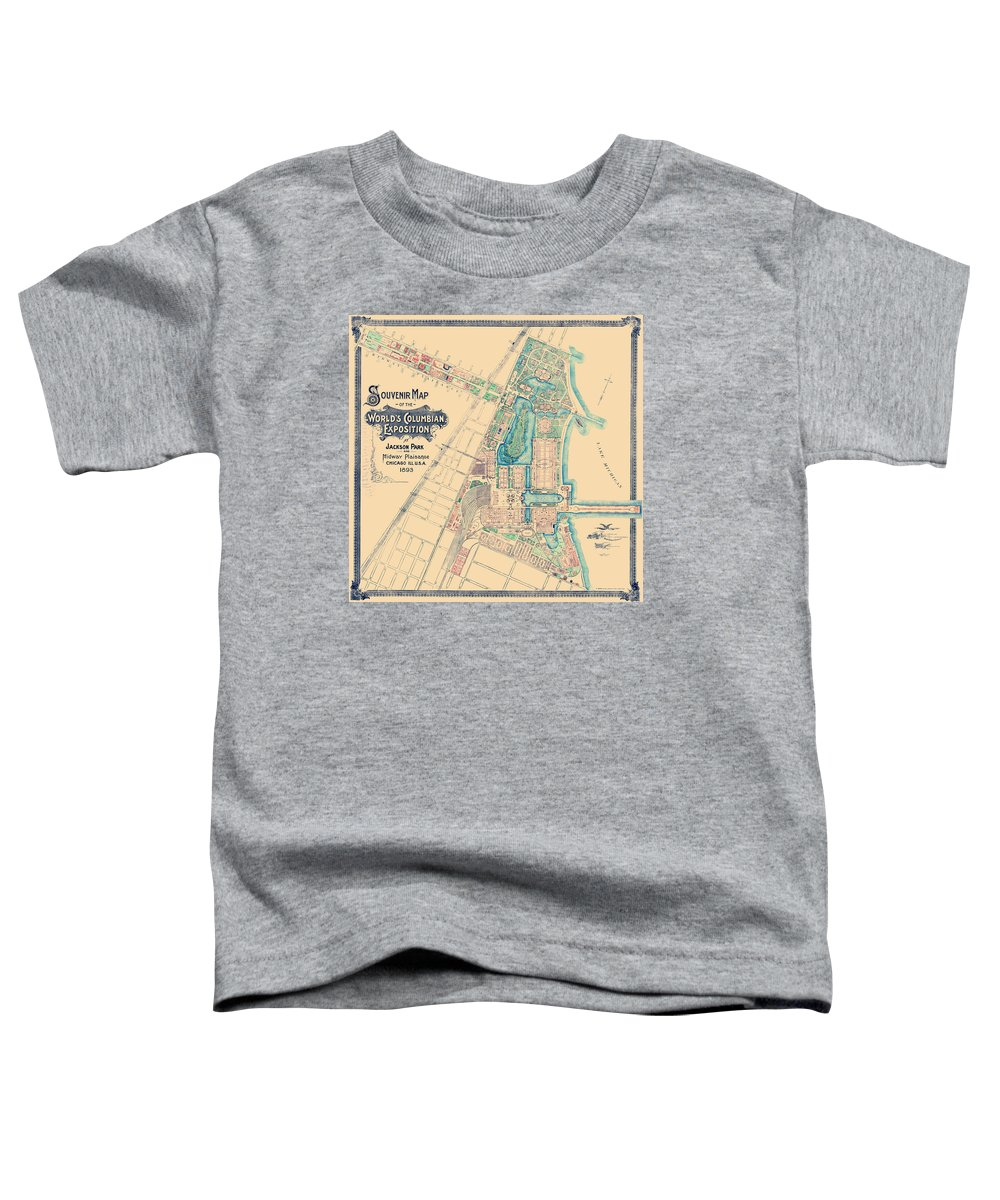 Chicago World Fair Toddler T-Shirt featuring the drawing Chicago World's Fair - Columbian Exposition Map - 1893 by War Is Hell Store