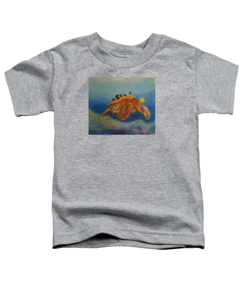 Turtle Toddler T-Shirt featuring the painting Cleaning Station by Ceci Watson