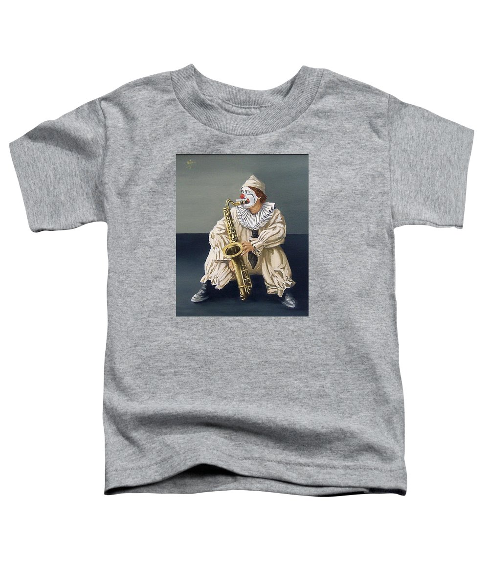 Clown Figurative Portrait People Toddler T-Shirt featuring the painting Clown by Natalia Tejera
