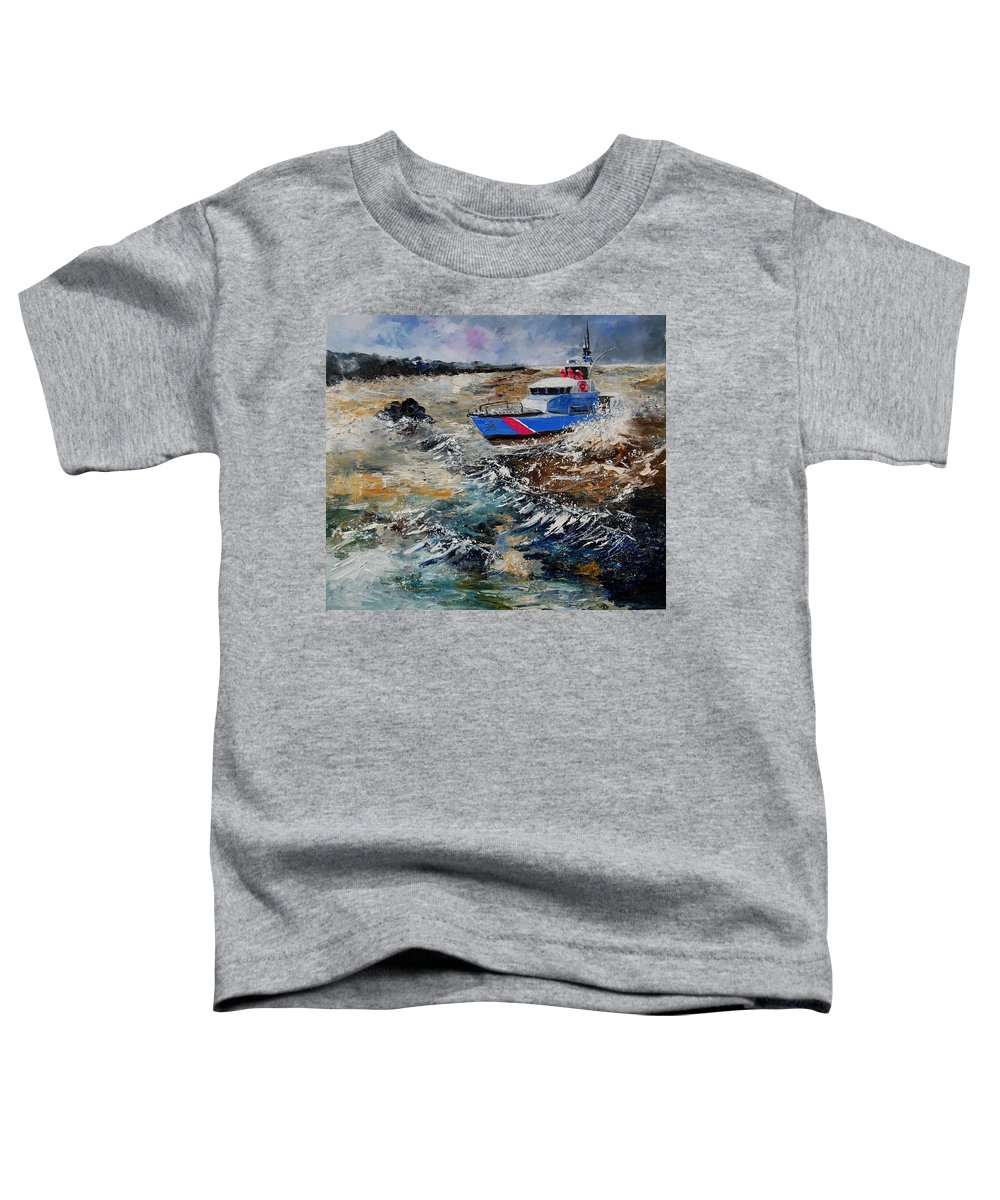 Sea Toddler T-Shirt featuring the painting Coastguards by Pol Ledent