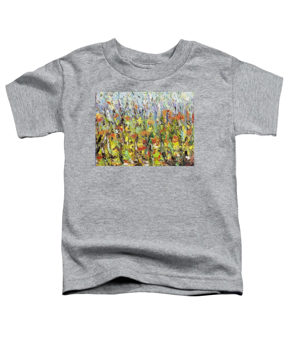 Autumn Abstract Paintings Toddler T-Shirt featuring the painting Colorful Forest by Seon-Jeong Kim