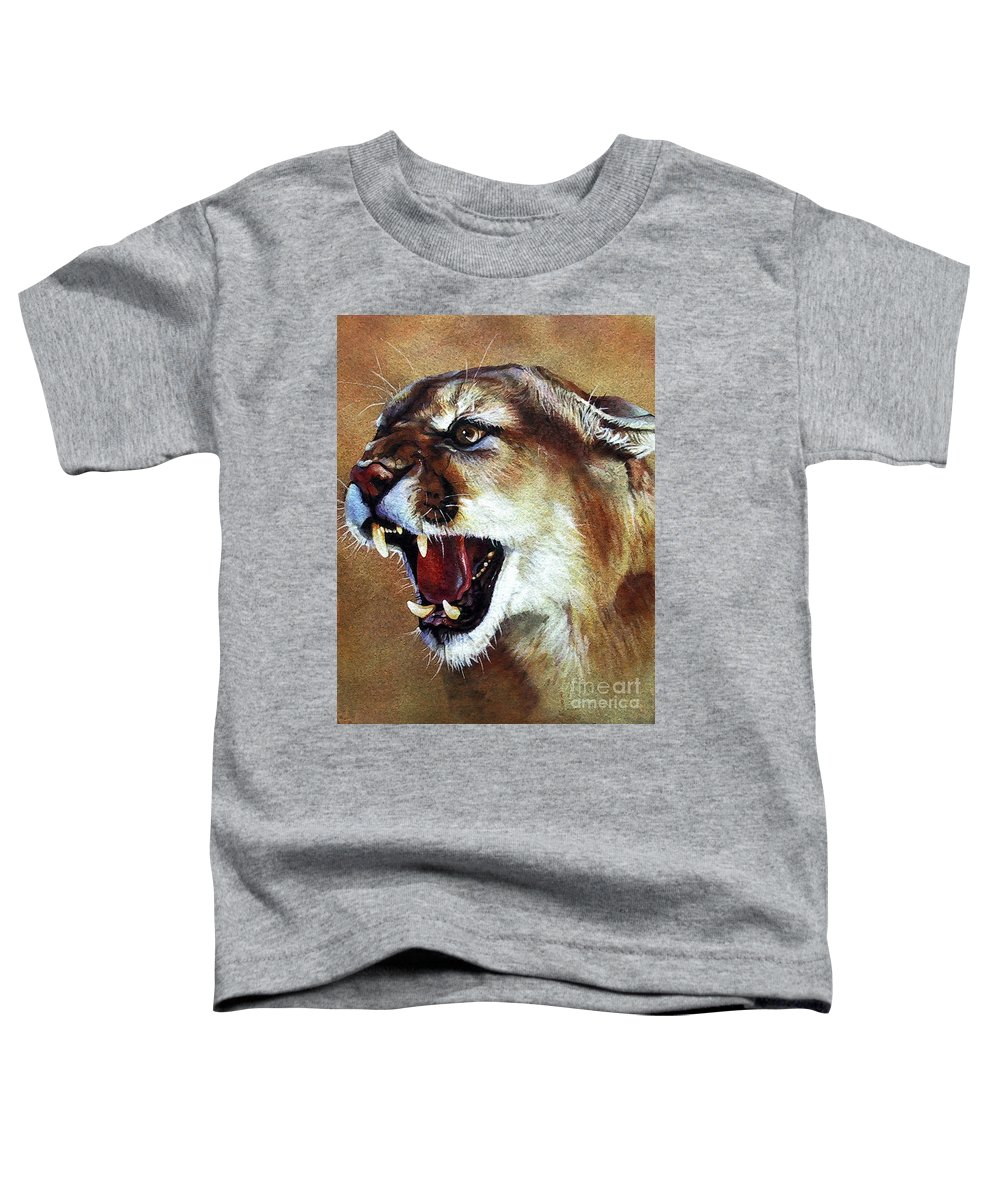 Southwest Art Toddler T-Shirt featuring the painting Cougar by J W Baker