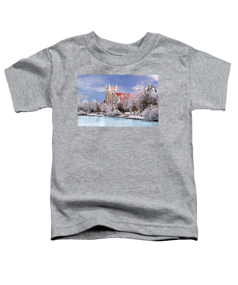 Winter Toddler T-Shirt featuring the photograph Country Club Christian Church by Steve Karol