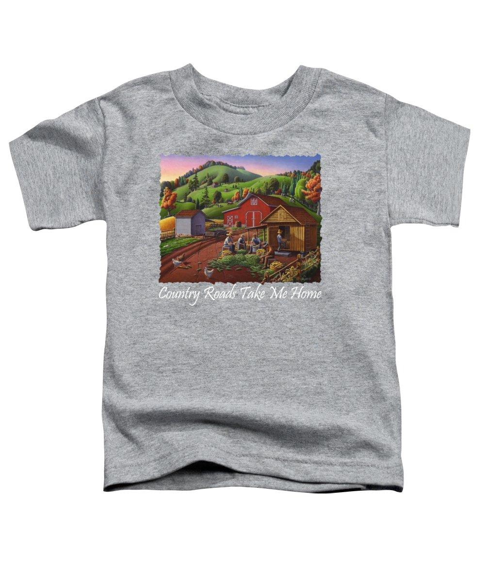 Folk Art Toddler T-Shirt featuring the painting Country Roads Take Me Home T Shirt - Farmers Shucking Corn - Corn Crib - Farm Landscape 2 by Walt Curlee