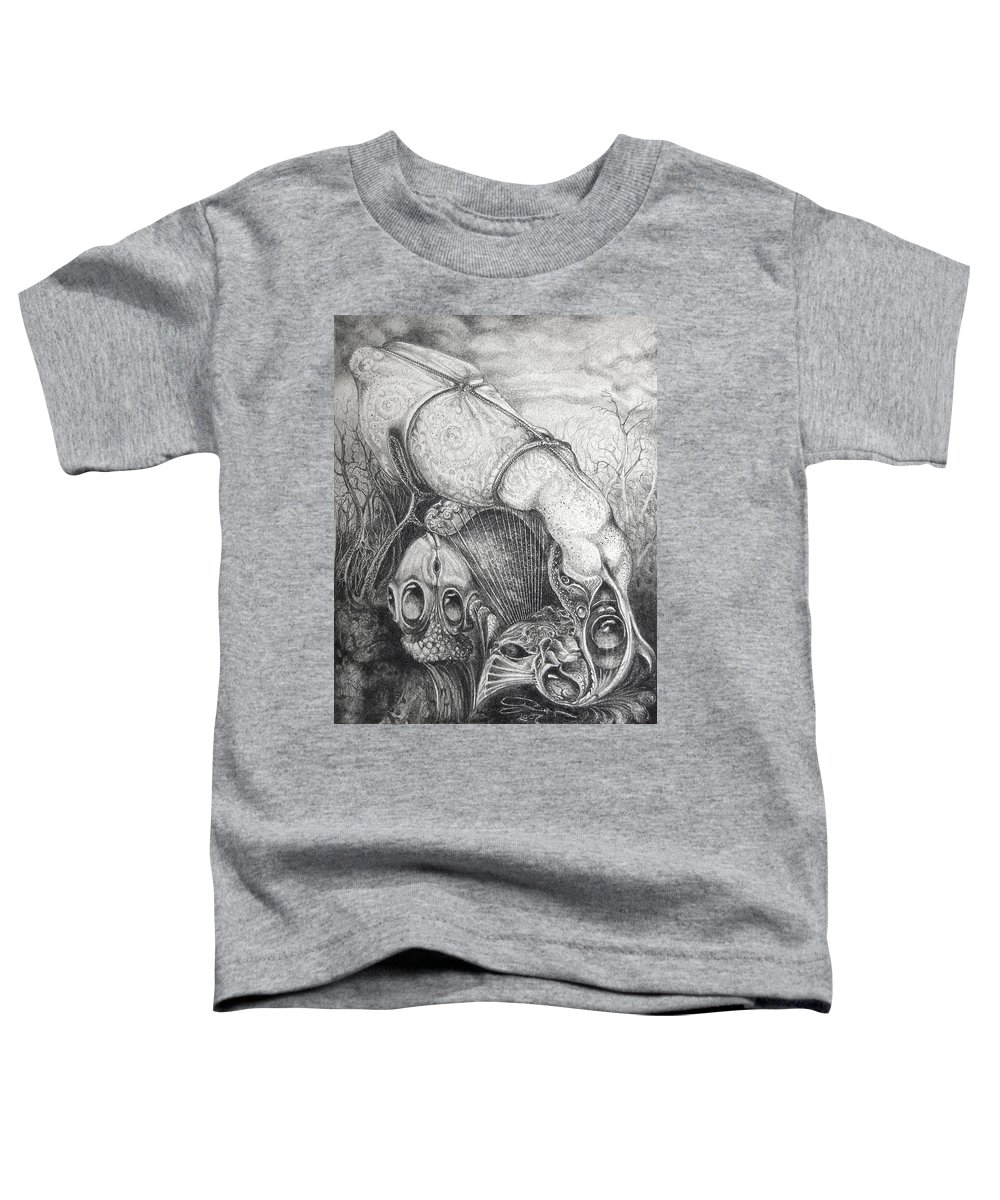 Surrealism Toddler T-Shirt featuring the drawing Ctulhu Seedpods by Otto Rapp