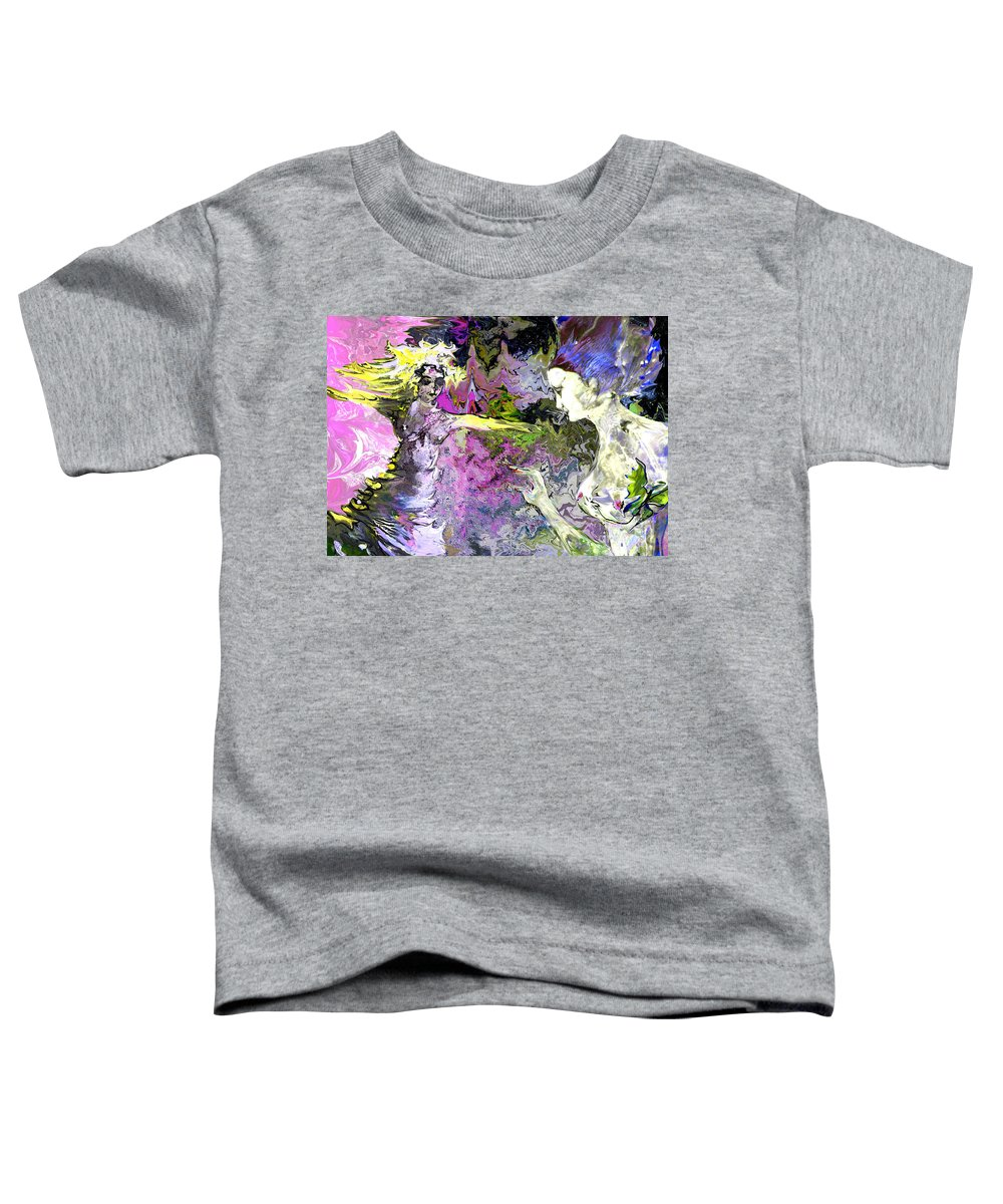 Miki Toddler T-Shirt featuring the painting Dance In Violet by Miki De Goodaboom