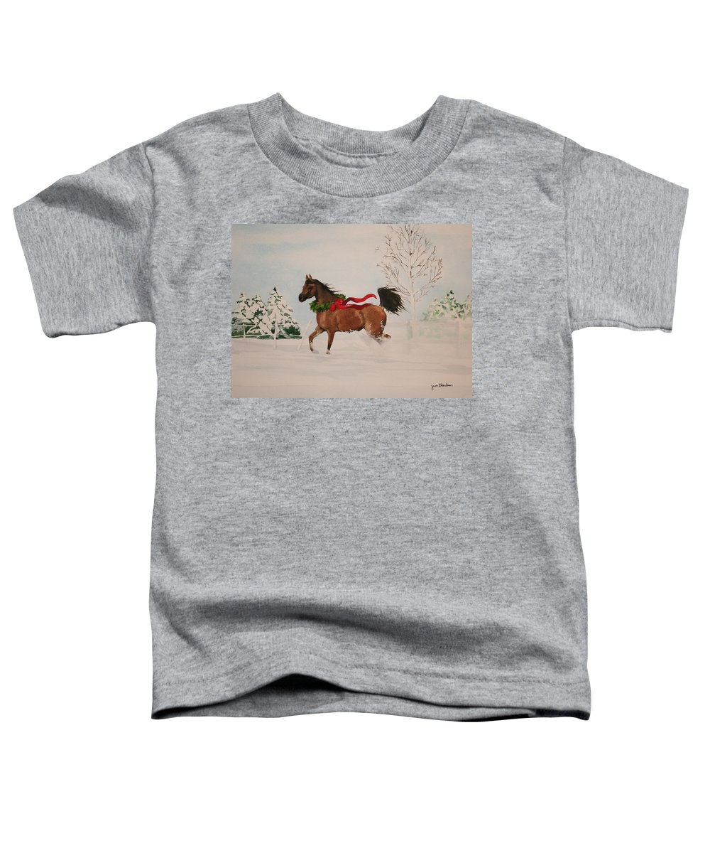 Horse Toddler T-Shirt featuring the painting Dashing Thru The Snow by Jean Blackmer