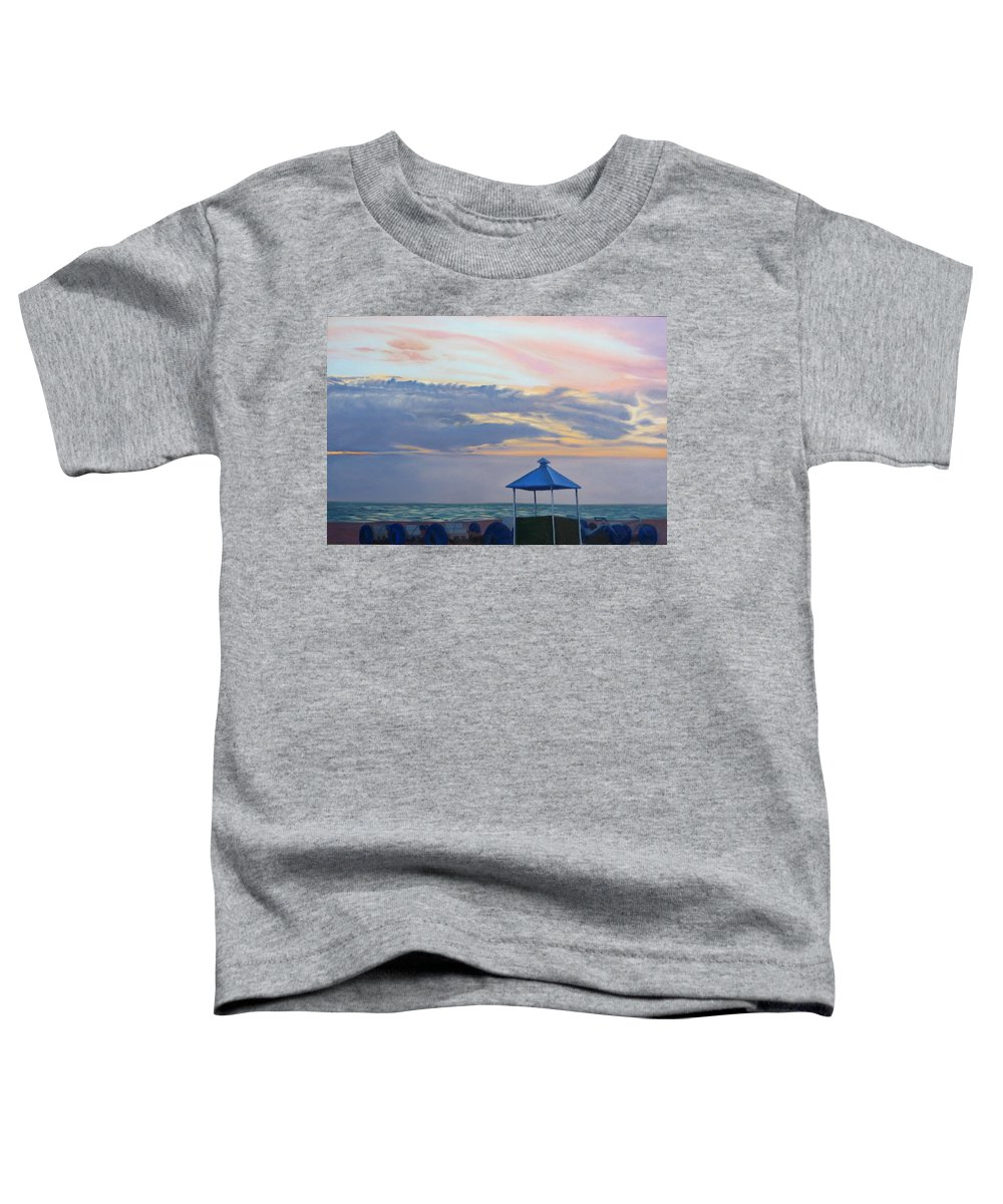 Sunset Toddler T-Shirt featuring the painting Day Is Done by Lea Novak