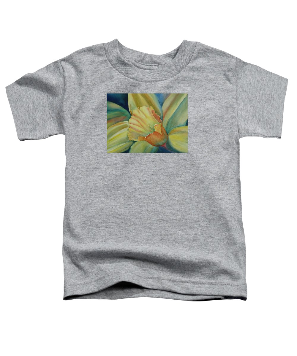 Flower Toddler T-Shirt featuring the painting Dazzling Daffodil by Ruth Kamenev