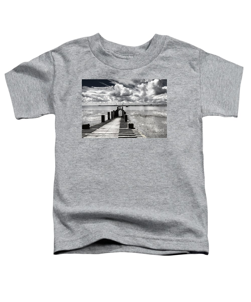 Wharf Southend Essex England Beach Sky Toddler T-Shirt featuring the photograph Derelict Wharf by Avalon Fine Art Photography