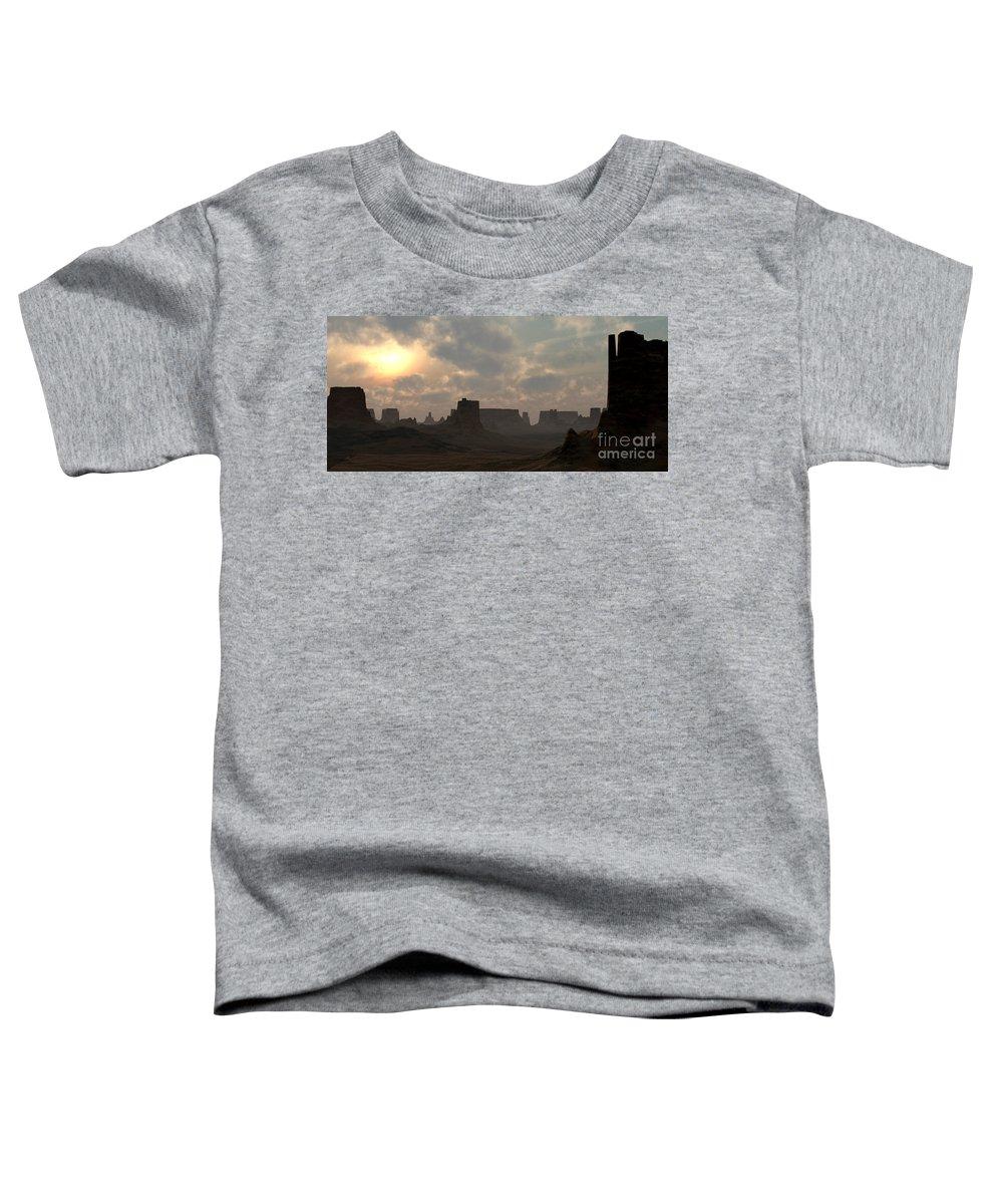 Desert Toddler T-Shirt featuring the digital art Desert Morning by Richard Rizzo