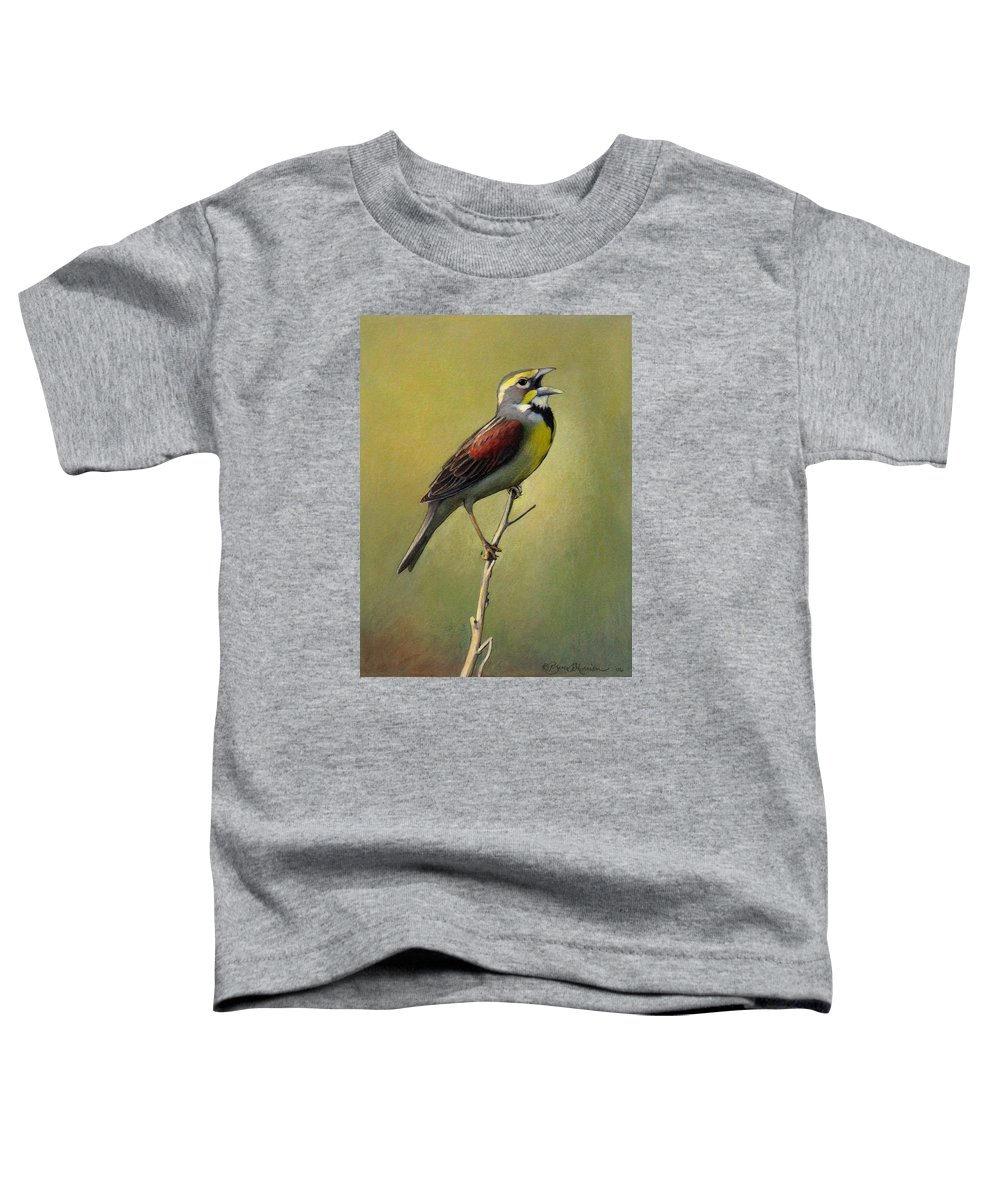 Birds Toddler T-Shirt featuring the drawing Dickcissel Summer Song by Bruce Morrison