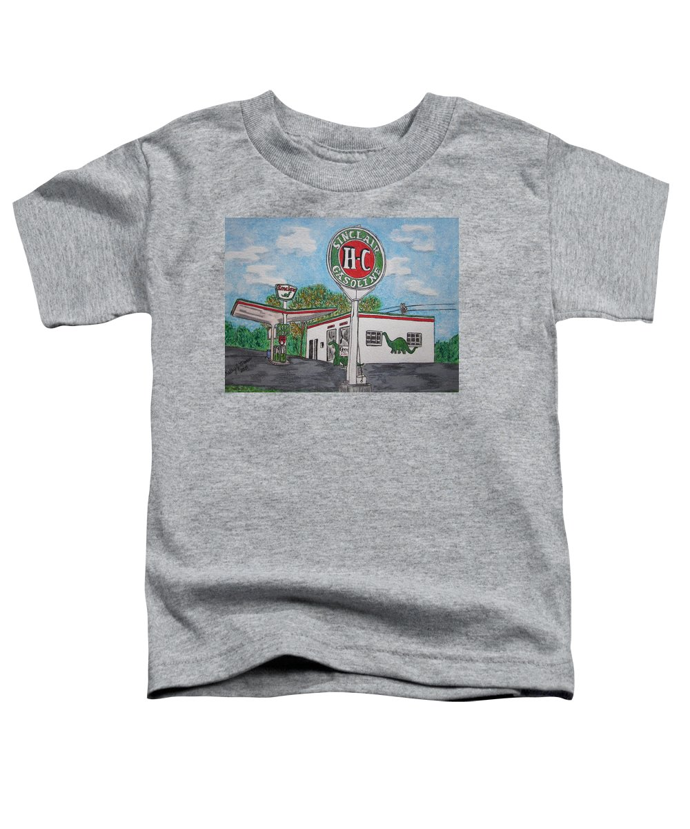 Dino Toddler T-Shirt featuring the painting Dino Sinclair Gas Station by Kathy Marrs Chandler
